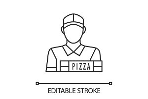 Pizza deliveryman linear icon