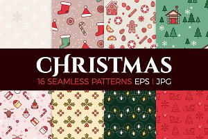 16 Christmassy seamless patterns