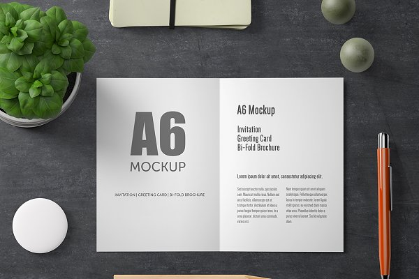 A6 Bi Fold Greeting Card Mockup Psd Mockup Mockups Graphic