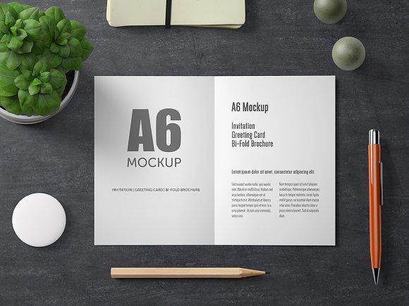 A6 Bi-Fold Greeting Card Mockup