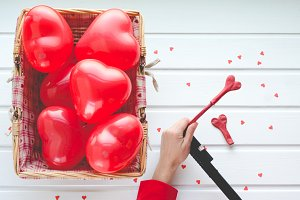 Valentine's Day, red hearts balloons