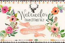 Watercolor flower DIY pack Vol.2