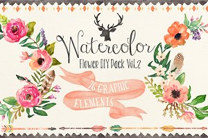 Watercolor flower DIY pack Vol.2