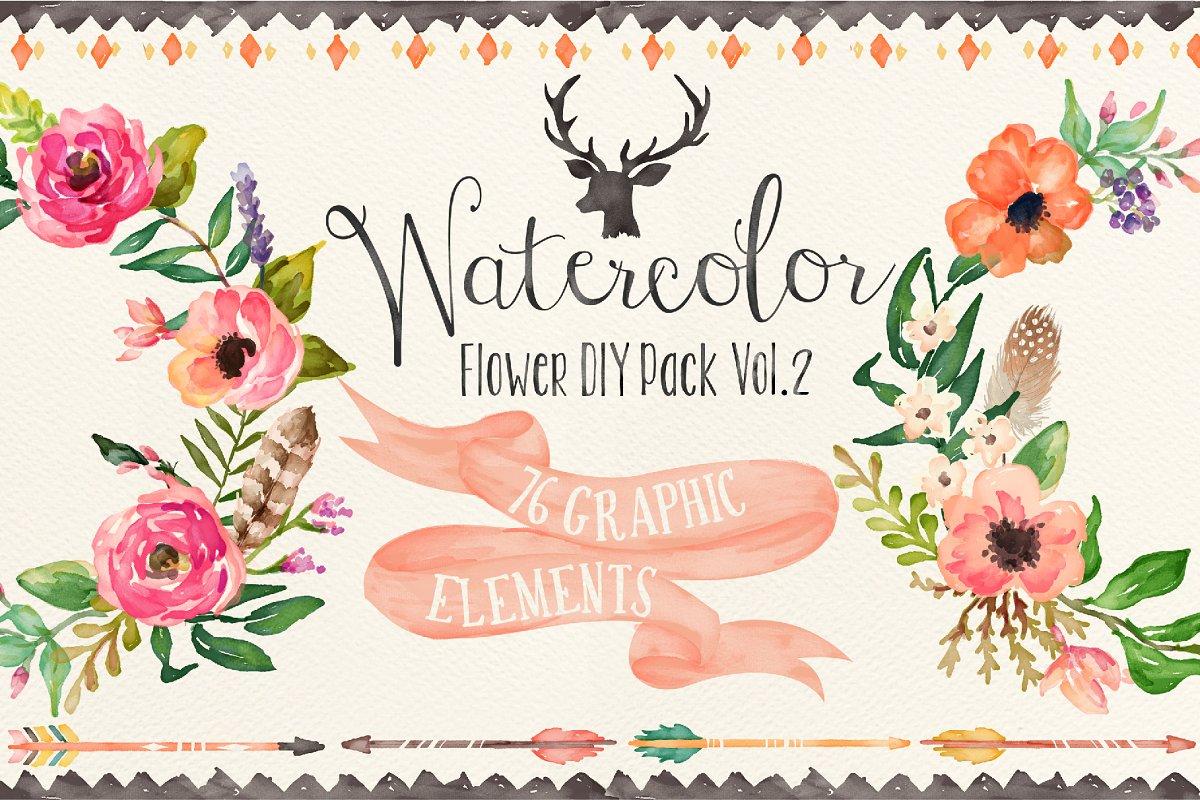 78d896e2 Watercolor flower DIY pack Vol.2 ~ Illustrations ~ Creative Market