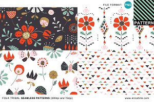 Folk Tribal Patterns (PNG format)