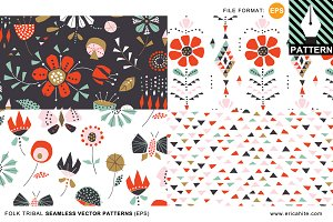 Folk Tribal Patterns (EPS format)