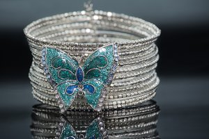 silver bracelet, butterfly-shaped