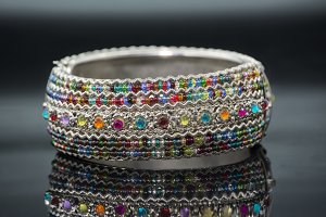 spiral bracelet of colored stones