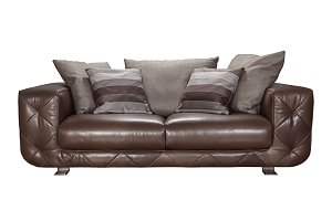 Leather sofa with cushions.