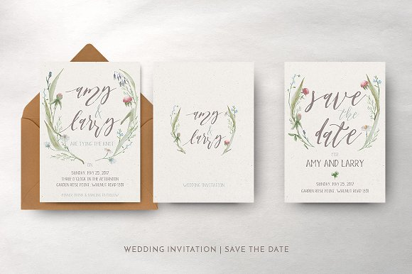 watercolor flower wedding suite invitation templates creative market