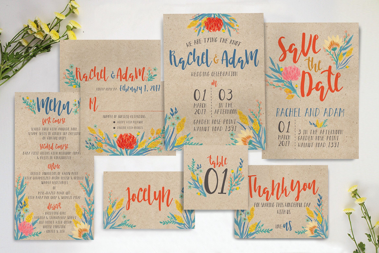 Summer Floral Wedding Suite ~ Invitation Templates ~ Creative Market