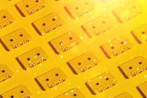 Retro audio tape tapes lie on a yell