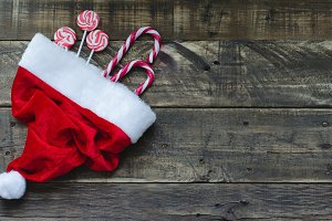 Santa Claus hat with Christmas candy