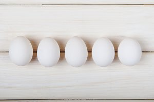 Five white eggs