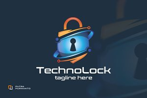 Techno Lock - Logo Template