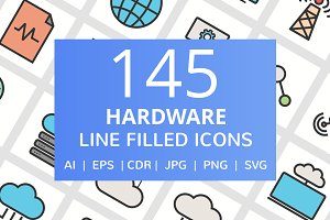 145 Hardware Filled Line Icons