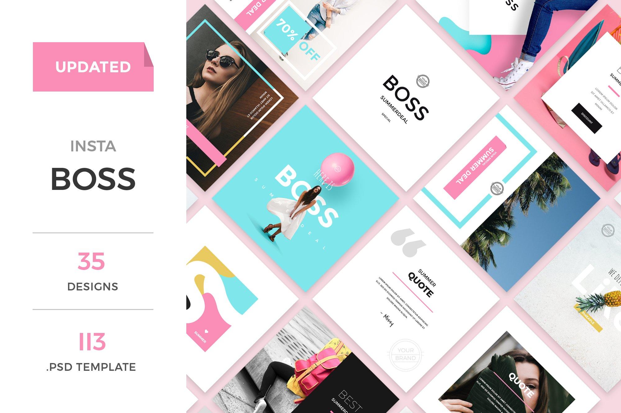 instaboss social media pack instagram templates creative market