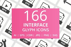 166 Interface Glyph Icons