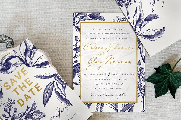 Gold & Navy Wedding Invitation Suit…