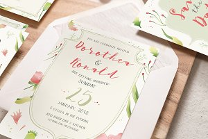 Foliage Illustration Wedding Suite