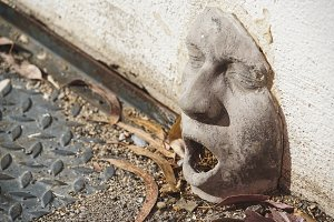 Sculpture of a concrete face