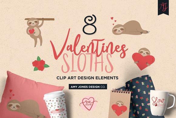 Valentine's Sloths Clipart Set