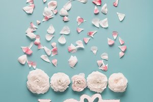 LOVE with pale roses and petals