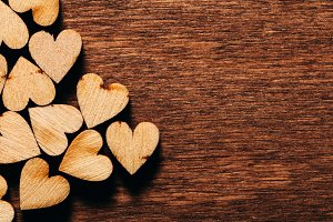 Valentine's Day background. Wooden h