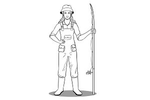 Fisherman girl coloring book vector
