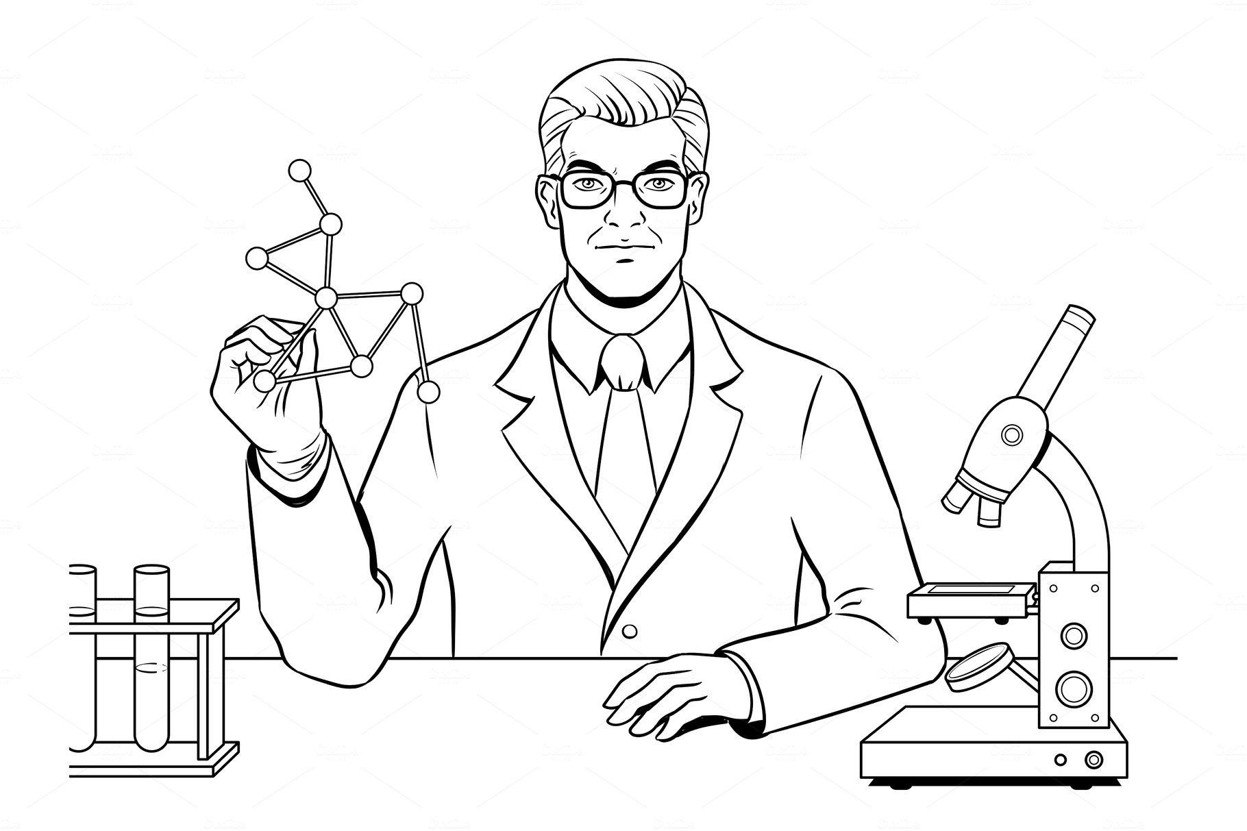 Medical chemist scientist coloring book vector