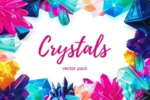 Bright crystals. Vector pack.