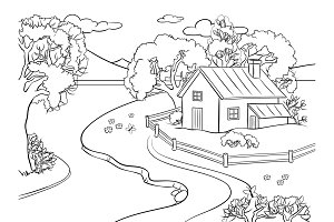 Summer landscape coloring book vector