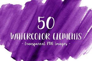 50 Purple Watercolor Shapes