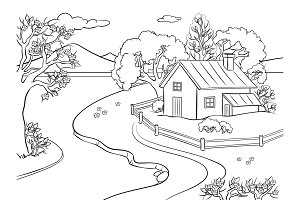 Spring landscape coloring book vector