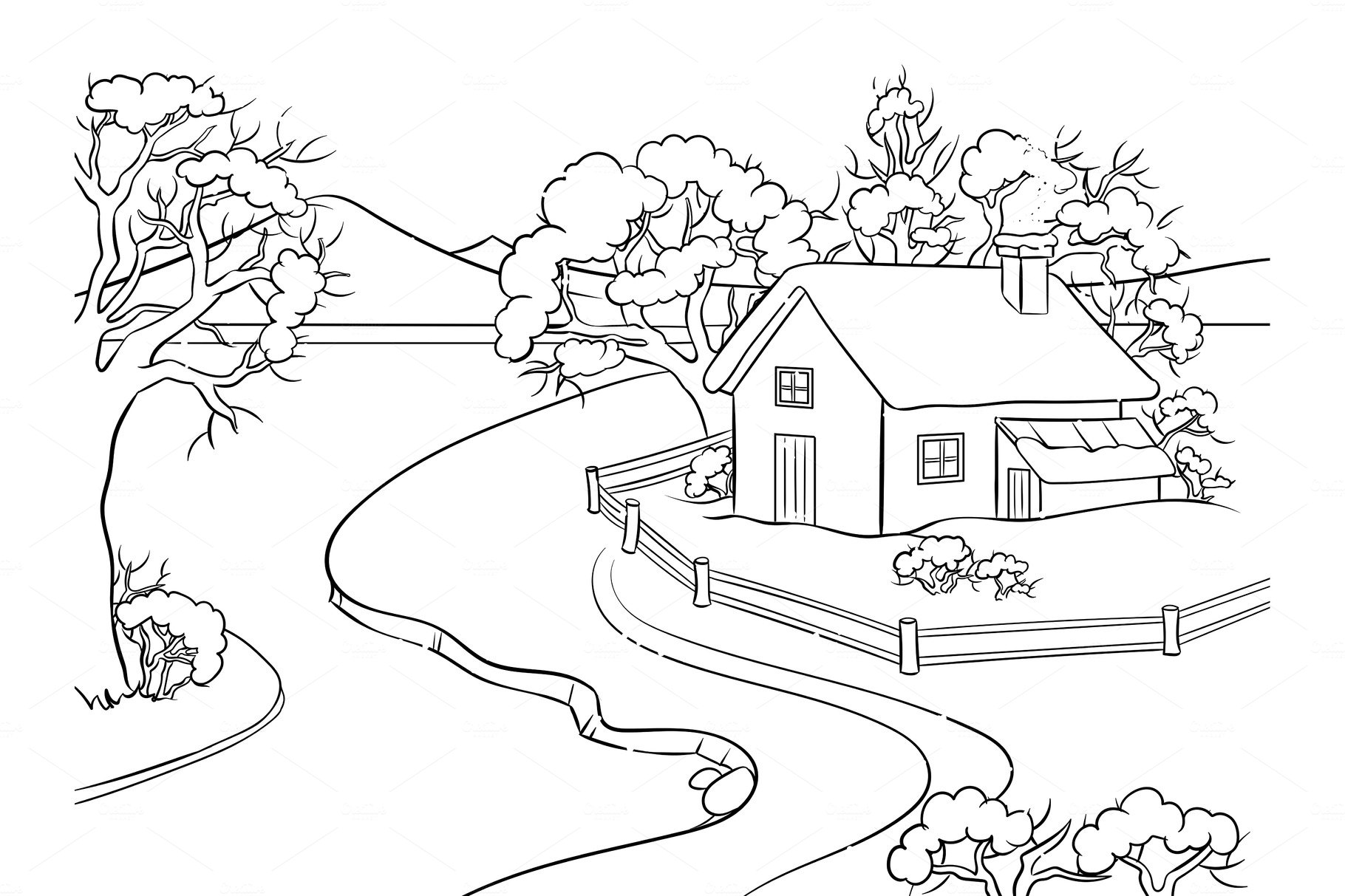 Winter landscape coloring book vector ~ Illustrations ...