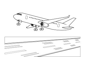 Airplane landing coloring book vector