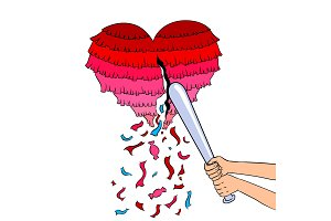 Pinata heart metaphor pop art vector illustration