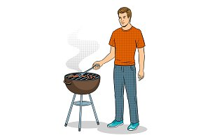 Man and barbecue pop art vector illustration