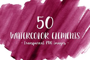 50 Pink Watercolor Shapes
