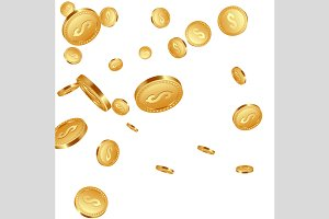 Falling metallic coins background.