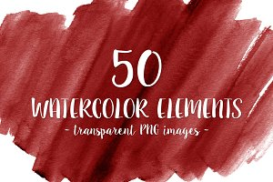 50 Red Watercolor Shapes