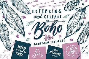 Boho Clip art and Lettering