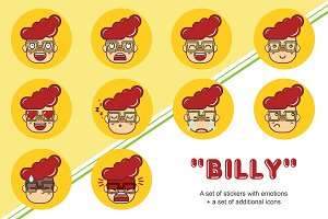 """Billy""- set of stickers-emotions."