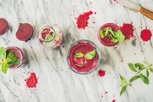Fresh beetroot smoothie in glasses