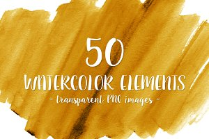 50 Yellow Gold Watercolor Shapes
