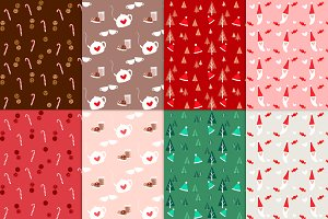 8 Christmassy seamless patterns