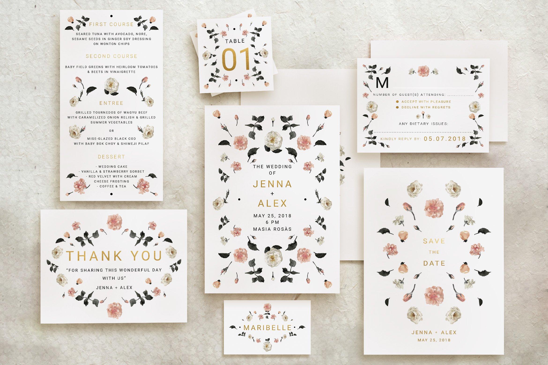Green Foliage Wedding Suite ~ Invitation Templates ~ Creative Market