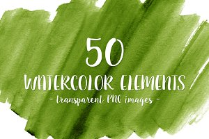 50 Green Watercolor Shapes
