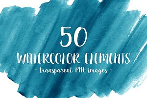 50 Blue Watercolor Shapes