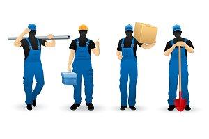 Worker people set of man cartoon